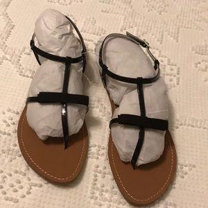 NWT black patent sandals, size 7.5